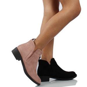 GIRLS Black V Cut Elastic Side Ankle Boot